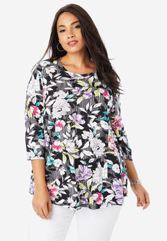 Swing Tunic, BLACK STRIPE FLORAL