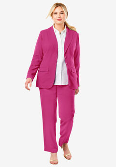 Single Breasted Pant Suit, BRIGHT BERRY