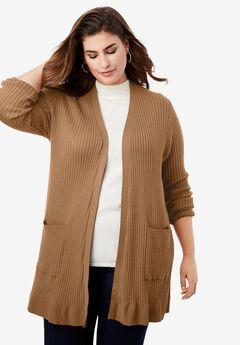 Rib Cardigan Sweater, BROWN MAPLE