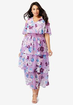 Tiered Maxi Dress, AMETHYST FLORAL
