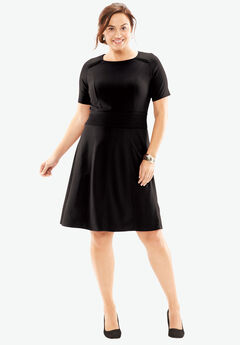Textured Short Sleeve Fit & Flare Dress,