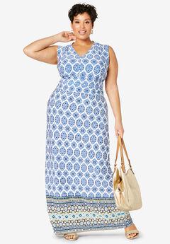 V-Neck Maxi Dress, NAVY MEDALLION BORDER