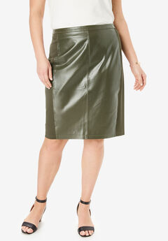 Leather and Ponte Knit Skirt, DARK OLIVE GREEN