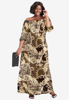 Blouson Maxi Dress, BROWN PAISLEY ANIMAL