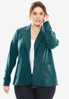 Ponte Knit Blazer with Notch Collar, MIDNIGHT TEAL
