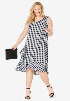 Linen Flounce Dress, BLACK WHITE GINGHAM