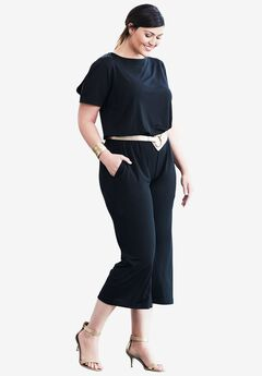 Cold Shoulder Capri Jumpsuit,