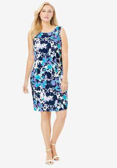 Bi-Stretch Sheath Dress, COOL LAYERED FLORAL