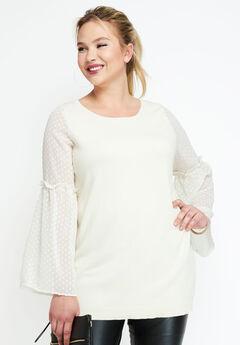 Sheer Bell Sleeve Sweater,