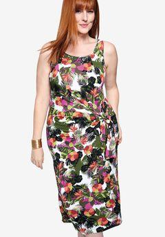 Tie-Waist Sheath Dress,