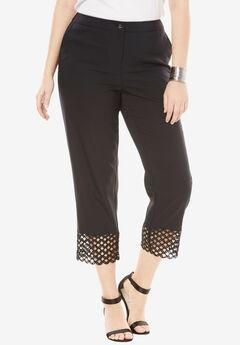 Lace Trim Crop Pant, BLACK
