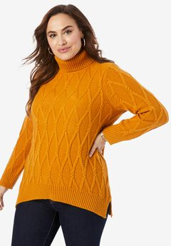 Cable Turtleneck Sweater,