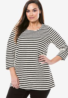 Striped Sequin Scoopneck Knit Tunic,