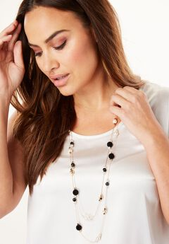 Double Strand Multi Beaded Necklace,