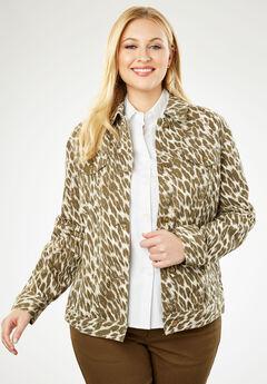 Classic Cotton Denim Jacket, OLIVE DUSK ANIMAL