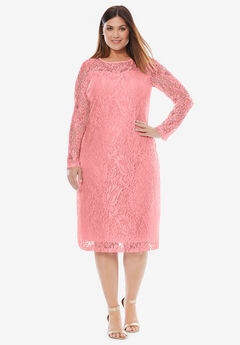 Lace Shift Dress, CORAL BLUSH