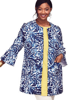 Tulip Sleeve Jacket, BRIGHT COBALT TAPESTRY FLORAL