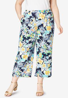 Crop Pants, NAVY ISLAND FLORAL