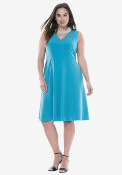 Fit & Flare V-Neck Dress,