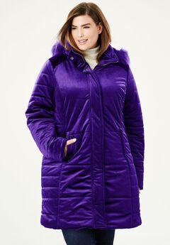 Velvet Puffer Coat,