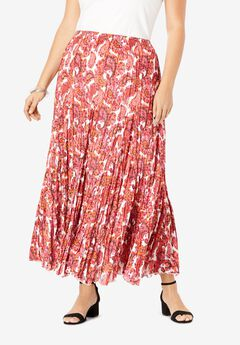 Cotton Crinkled Maxi Skirt, PINK GRAPHIC PAISLEY