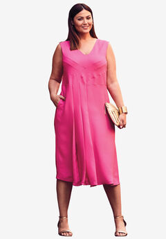 V-Neck Fit & Flare Dress, PASSION PINK
