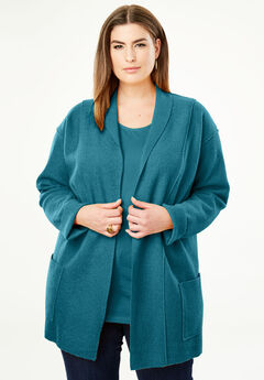 Boiled Wool Shawl Collar Jacket, SEA BLUE