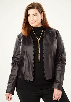 Scalloped Leather Jacket, BLACK