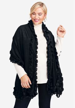 Faux Fur Trim Wrap,