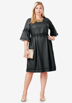 Crochet Fit & Flare Dress, BLACK