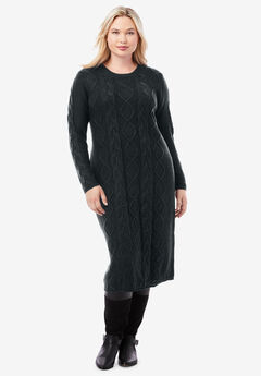 Cable Sweater Dress, BLACK
