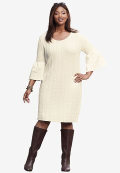 Bell-Sleeve Cable Sweaterdress,