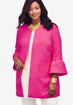 Collarless Bell Sleeve Jacket, PASSION PINK