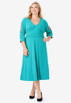 Slit Sleeve Midi Dress, JADE