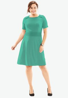 Textured Short Sleeve Fit & Flare Dress, PRETTY JADE
