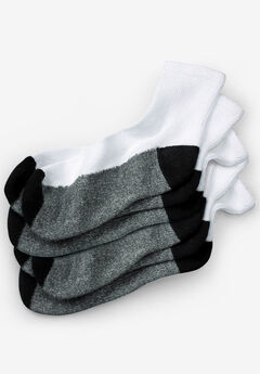 3-Pack 1/4 Length Cushioned Crew Socks, WHITE