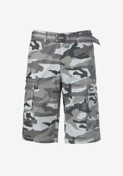 """Ecko® 14"""" Cargo Shorts with Belt,"""