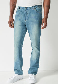 Liberty Blues® Modern-Fit Side Elastic 5-Pocket Jeans,