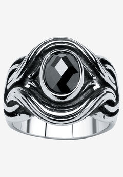 Stainless Steel Antiqued Black Cubic Zirconia Ring, STAINLESS STEEL