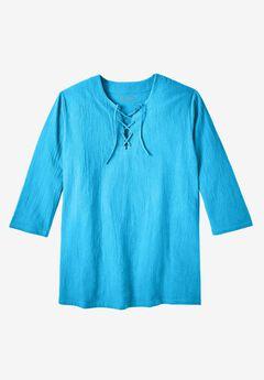 Gauze Lace-Up Shirt,
