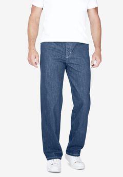 Liberty Blues™ Loose-Fit Side Elastic 5-Pocket Jeans,