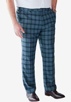 Easy-Care Classic Fit Expandable Waist Double-Pleat Front Dress Pants,