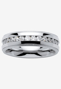Stainless Steel Cubic Zirconia Channel Set Eternity Bridal Ring, STAINLESS STEEL