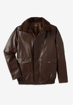 Leather Flight Bomber Jacket,