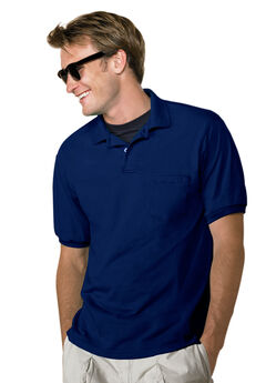 Hanes® ComfortBlend® EcoSmart® Jersey Polo with Pocket, NAVY