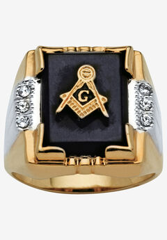 14K Gold-plated Onyx and Crystal Two Tone Masonic Ring, GOLD