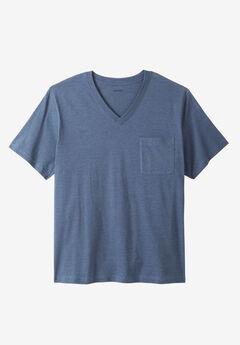 Shrink-Less™ Lightweight Cotton V-Neck Pocket Tee,
