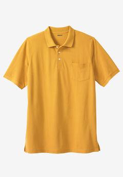 Longer-Length Piqué Pocket Polo, MUSTARD