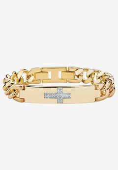 "9"" Gold-Plated Round Genuine Diamond Cross Curb-Link Bracelet, GOLD"