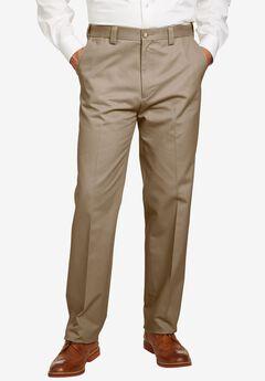 Straight Fit Wrinkle Free Expandable Waist Plain Front Pants,